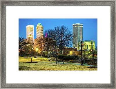 Tulsa Skyline Behind Barren Trees Framed Print