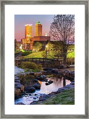 Tulsa Skyline On The River Framed Print