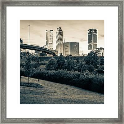 Tulsa Skyline Sepia City Landscape 1x1 Framed Print
