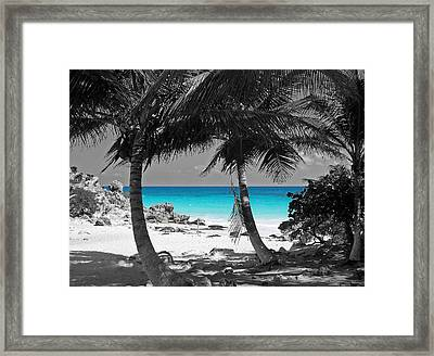 Tulum Mexico Beach Color Splash Black And White Framed Print by Shawn O'Brien