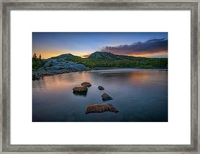 Tumbledown Mountain At Sunset Framed Print