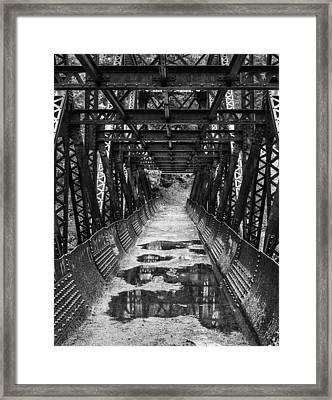 Tumwater Canyon Pipeline Bridge Black And White Framed Print