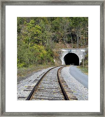 Tunnel Along The Western Maryland Scenic Railroad Framed Print by Brendan Reals