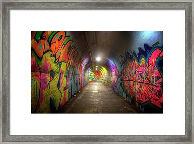 Tunnel Of Graffiti Framed Print by Mark Andrew Thomas