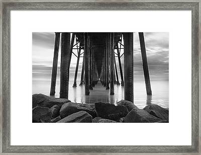 Tunnel Of Light - Black And White Framed Print by Larry Marshall