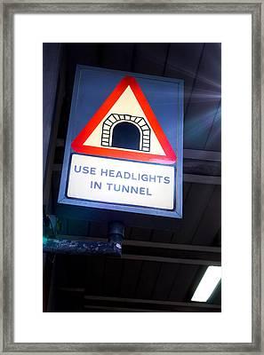 Tunnel Sign Framed Print by Tom Gowanlock