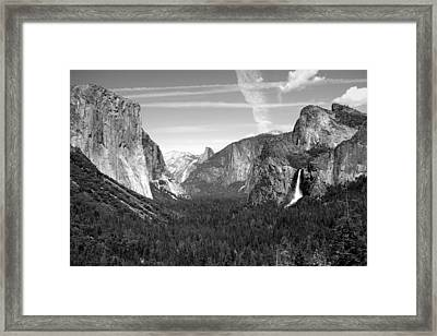 Tunnel View Yosemite B And W Framed Print