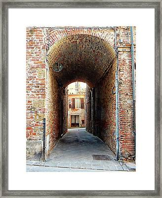 Tunnelled Through Citta Della Pieve Umbria Framed Print by Dorothy Berry-Lound