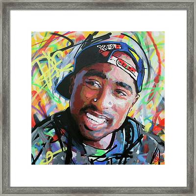 Tupac Portrait Framed Print by Richard Day