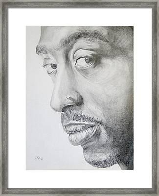 Tupac Shakur Framed Print by Stephen Sookoo