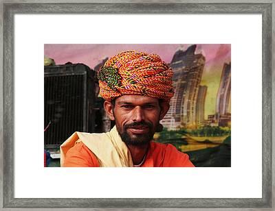 Turbanned Man Framed Print by Mohammed Nasir