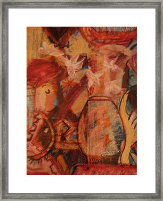 Turbanned Man With Goldfish Bowl Abstract Framed Print by Anne-Elizabeth Whiteway