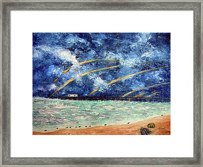 Turbulence At The Nj Shore Framed Print by Leonardo Ruggieri