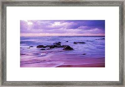 Turbulent Daybreak Seascape Framed Print
