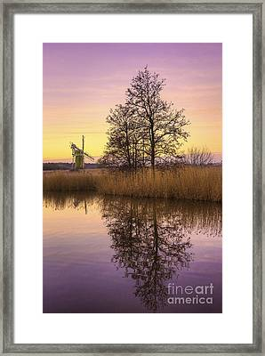 Turf Fen Mill At Sunrise Framed Print