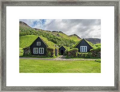 Turf Roof Houses And Shed, Skogar, Iceland Framed Print