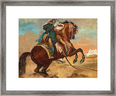 Turk Mounted On Chestnut Colored Horse Framed Print by Theodore Gericault