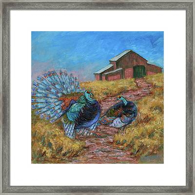 Framed Print featuring the painting Turkey Tom's Tango by Xueling Zou