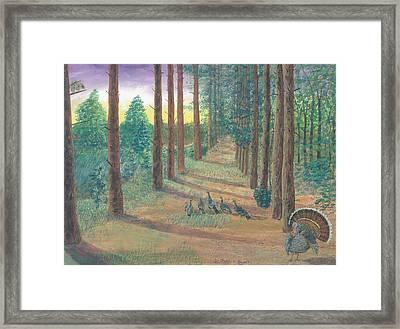 Turkeys On Bobs Trail Framed Print by Lori  Theim-Busch