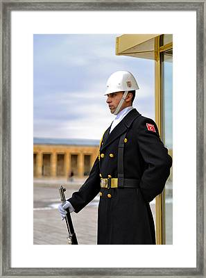 Turkish Army Soldier At Anitkabir In Ankara, Turkey Framed Print by Ivan Batinic