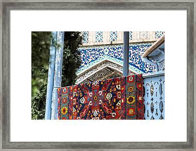 Turkish Carpet Drying Framed Print