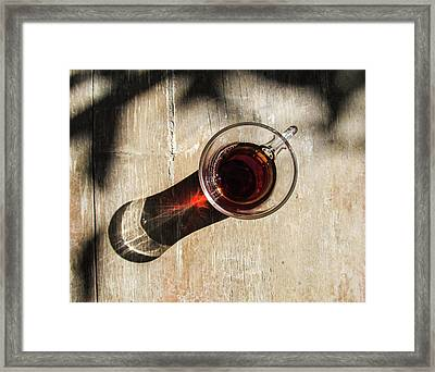 Turkish Tea On A Wooden Table Framed Print