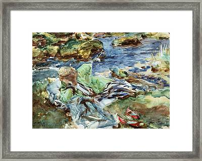Turkish Woman By A Stream Framed Print by John Singer Sargent