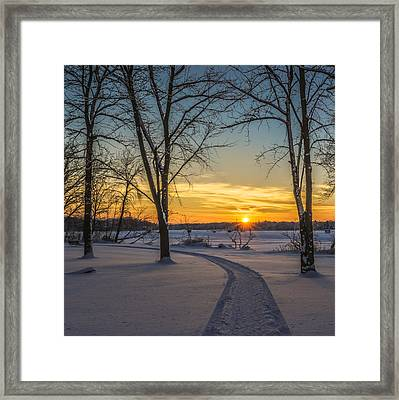Turn Left At The Sunset Framed Print by Randy Scherkenbach