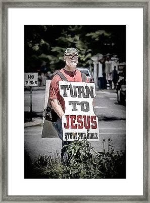 Turn To Jesus Framed Print by John Haldane