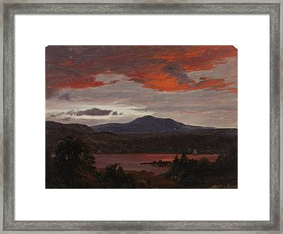 Turner Pond With Pomola Peak And Baxter Peak. Maine Framed Print by Frederic Edwin Church
