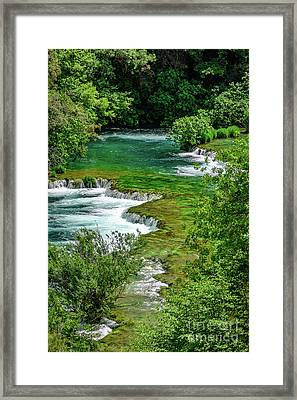 Turqouise Waterfalls Of Skradinski Buk At Krka National Park In Croatia Framed Print