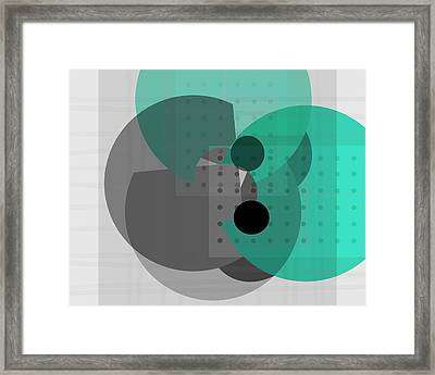 Turquoise And Gray Abstract Art Framed Print by Ann Powell