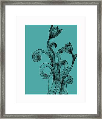 Turquoise And Black Floral 2 Framed Print