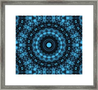 Turquoise And Black Mandala Framed Print