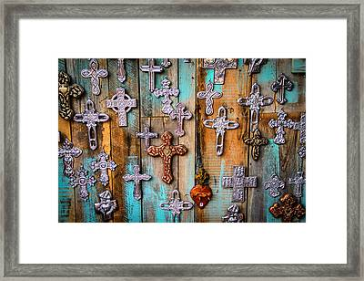 Turquoise And Crosses Framed Print