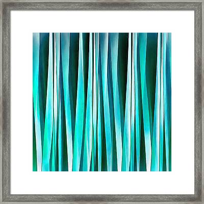 Turquoise And Cyan Ocean Stripy Lines Pattern Framed Print