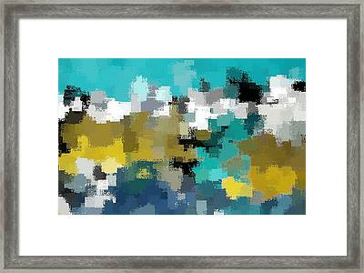 Turquoise And Gold Framed Print