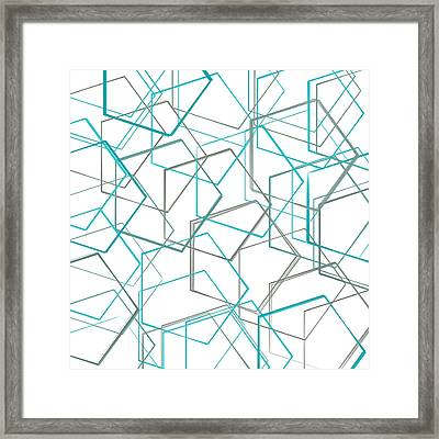 Turquoise And Gray Framed Print by Lourry Legarde