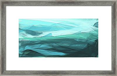 Turquoise And Gray Modern Abstract Framed Print
