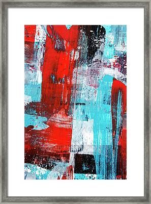 Framed Print featuring the painting Turquoise And Red Abstract Painting by Christina Rollo