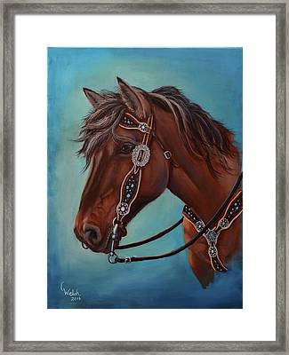 Turquoise And Silver Framed Print
