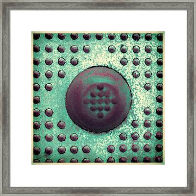 Green And Violet Dots In Cube Framed Print by Tony Grider