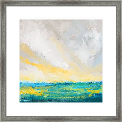 Turquoise And Yellow Art Framed Print by Lourry Legarde