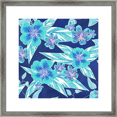 Turquoise Batik Tile 1- Camellia Framed Print