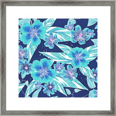 Turquoise Batik Tile 2 - Bidens Framed Print