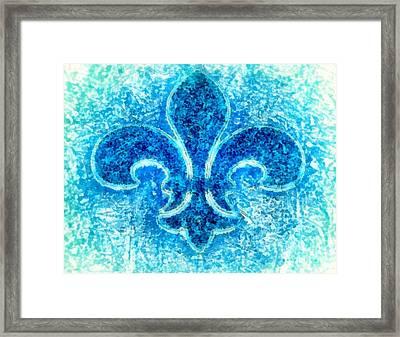 Turquoise Bleu Fleur De Lys Framed Print