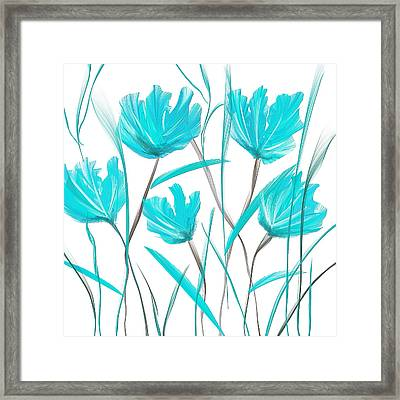 Turquoise Bloom Framed Print by Lourry Legarde