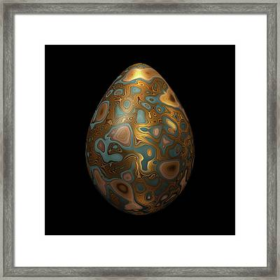 Turquoise Egg With Golden Marbling Framed Print by Hakon Soreide