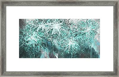 Turquoise Explosions - Blue And Gray Modern Art Framed Print