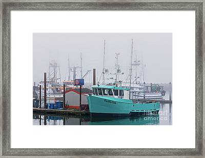 Turquoise Fishing Boat Framed Print by Jerry Fornarotto